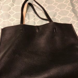 Faux leather reversible tote with detachable pouch